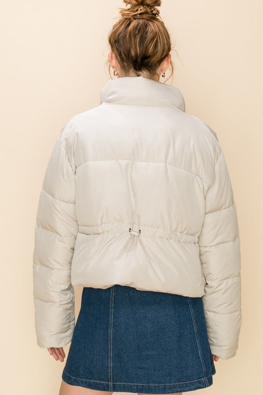 'This is Now' Puffer Jacket - Moth Gray