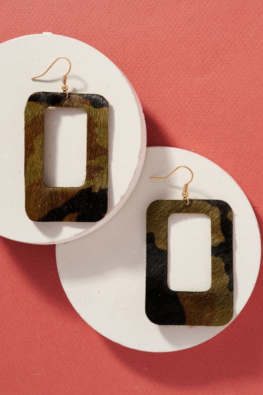 Leather Cut Out Earrings - Camo