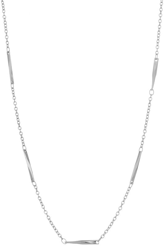 Chain Accent Necklace - Silver