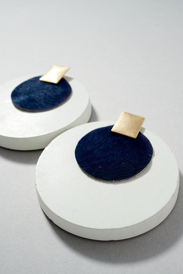 Round Leather Earrings - Navy