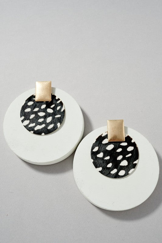 Round Leather Earrings - Spotted