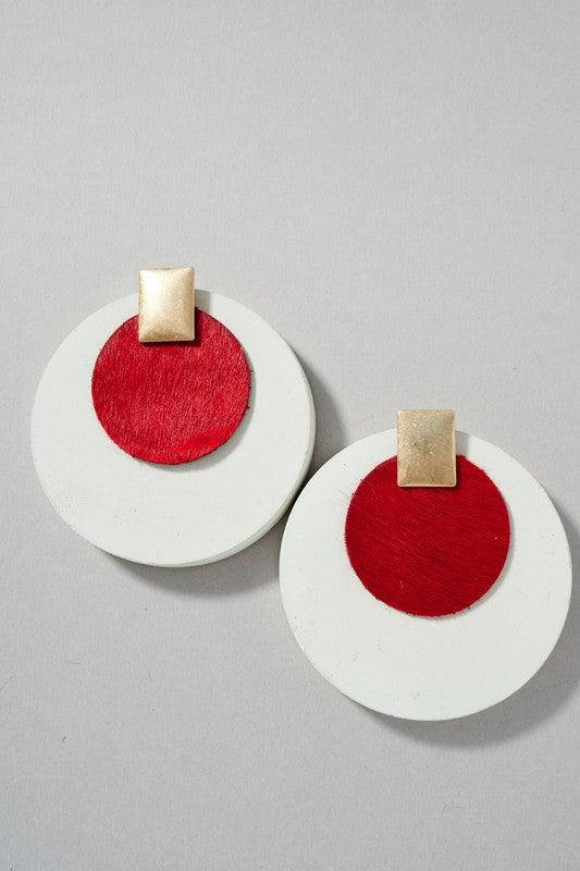 Round Leather Earrings - Red
