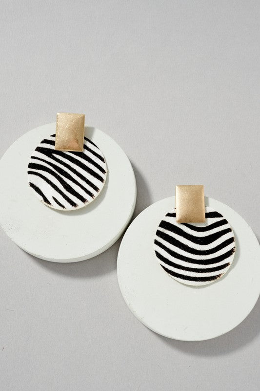 Round Leather Earrings - Zebra