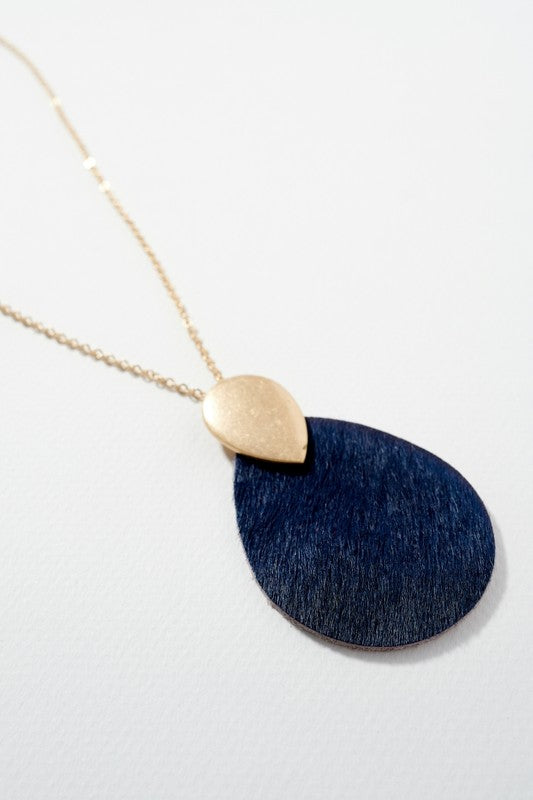 Leather Pendant Necklace - Navy