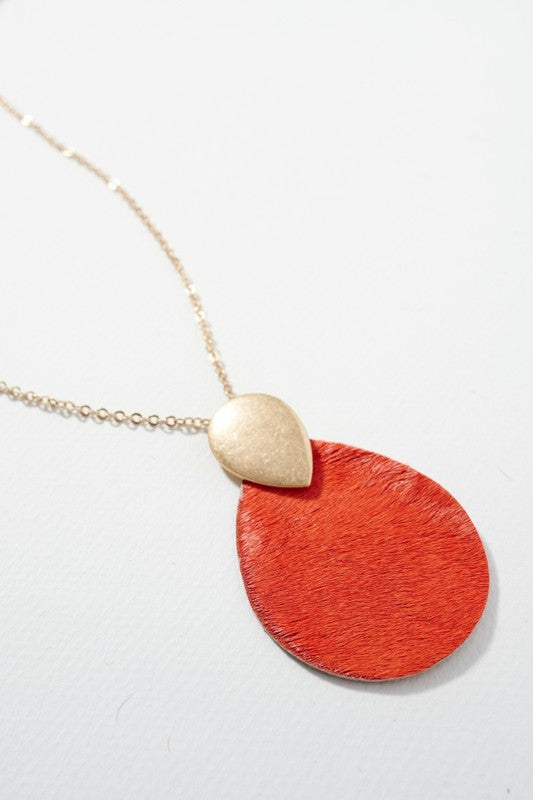 Leather Pendant Necklace - Orange