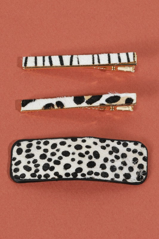 Hair Clip Set - Snow Cheetah