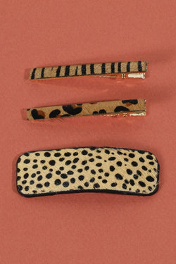 Hair Clip Set - Cheetah