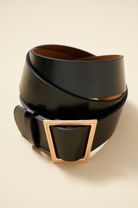 Geo Buckle Belt - Black