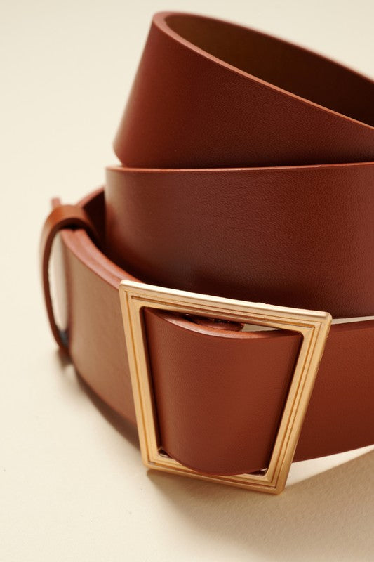 Geo Buckle Belt - Camel