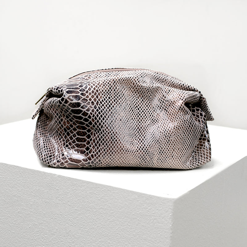 Python Print Leather Cosmetic Bag