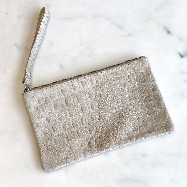 Embossed Leather Wristlet