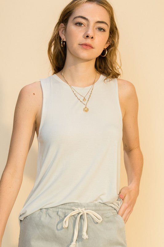 'Get to It' Tank - Pearl Gray