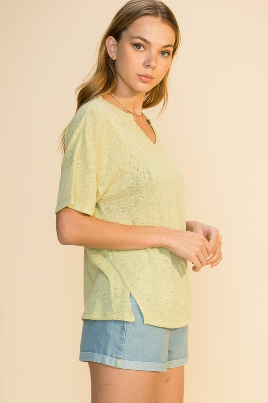 'Washed Memories' Top - Lime