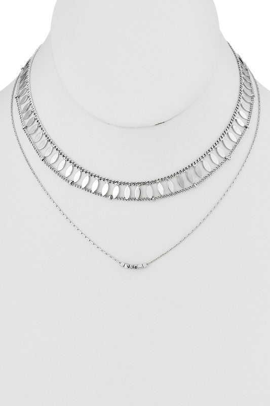 Choker Necklace Set - Silver