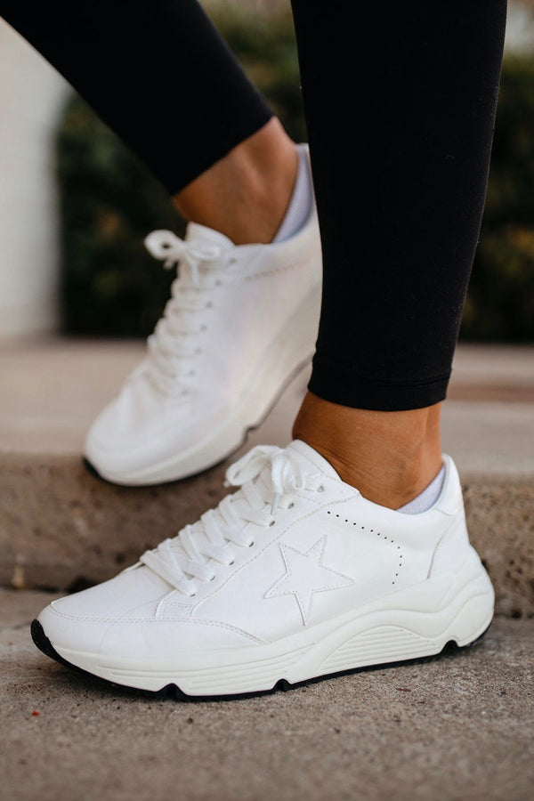 White platform star sneakers