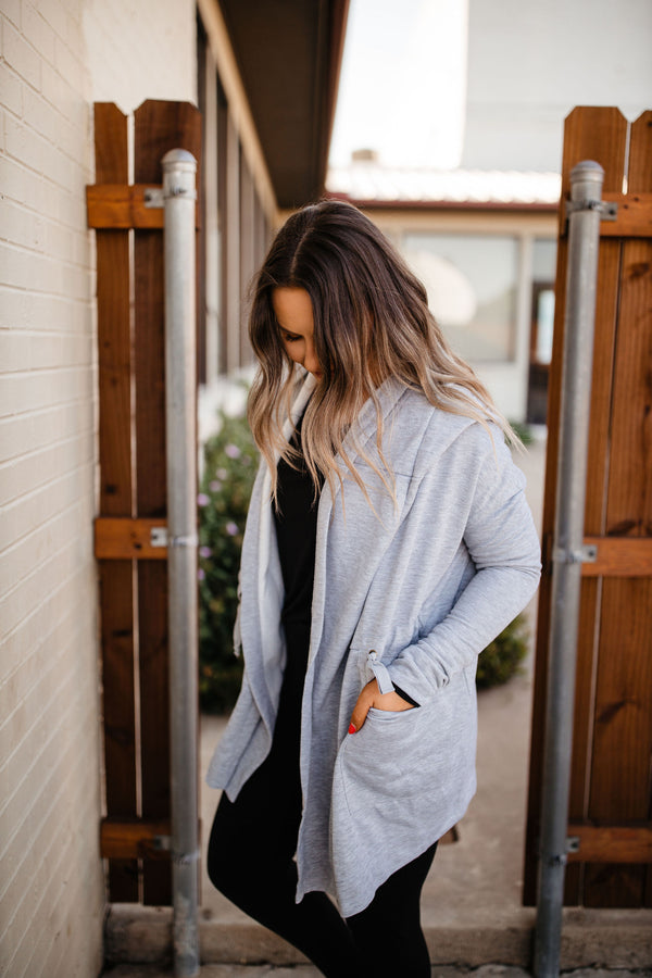 Heather Gray Hooded Athleisure Jacket