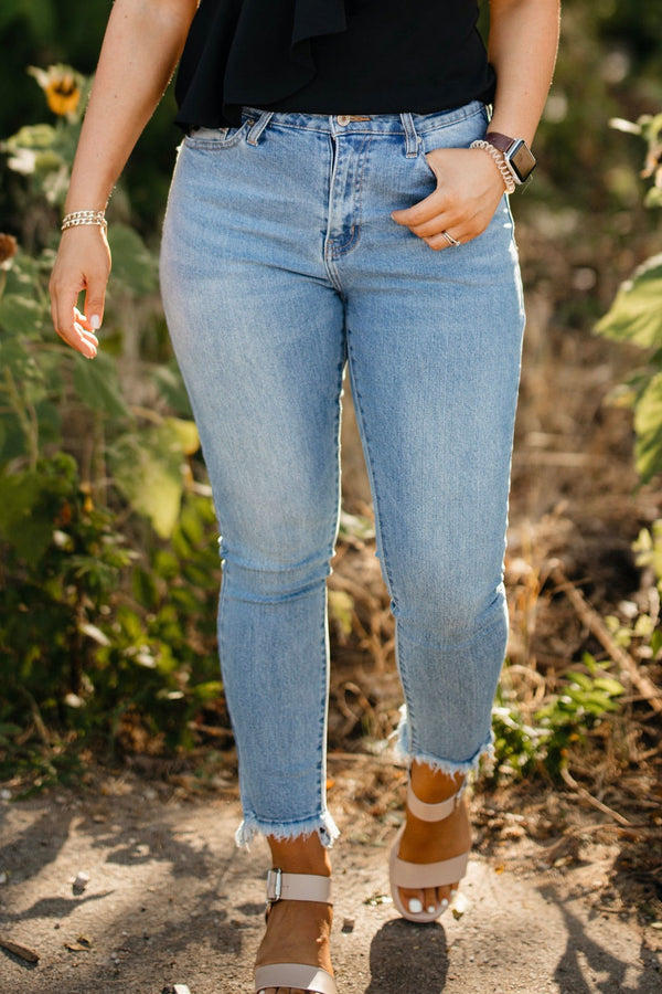 Women's super high rise straight leg kan can jean 100% Cotton