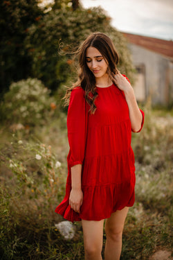 red 3/4 sleeve dress