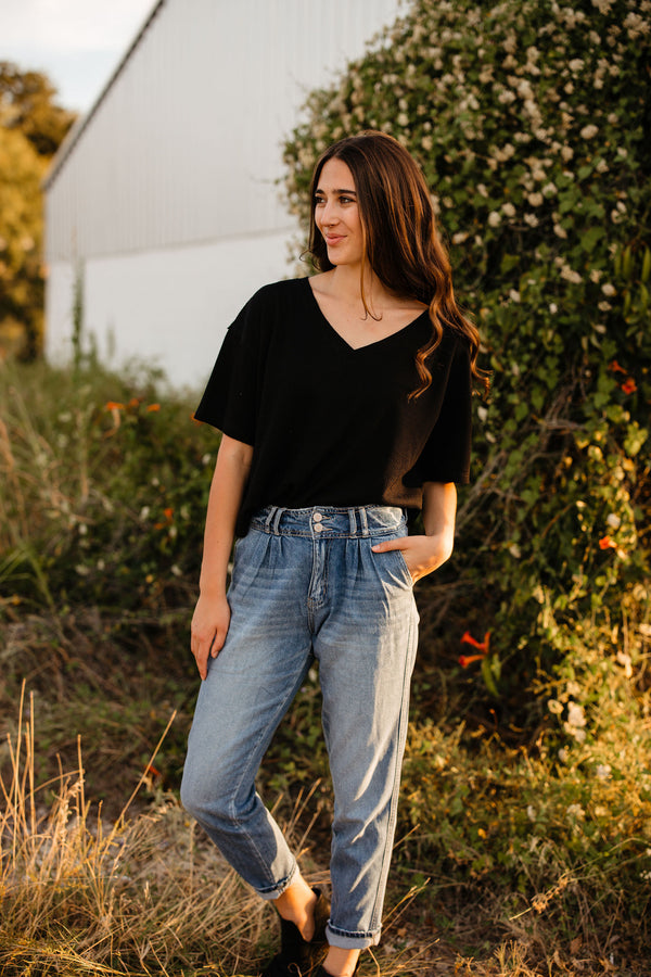 black knit thermal top
