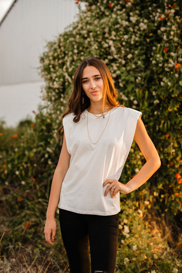 white padded shoulder tank