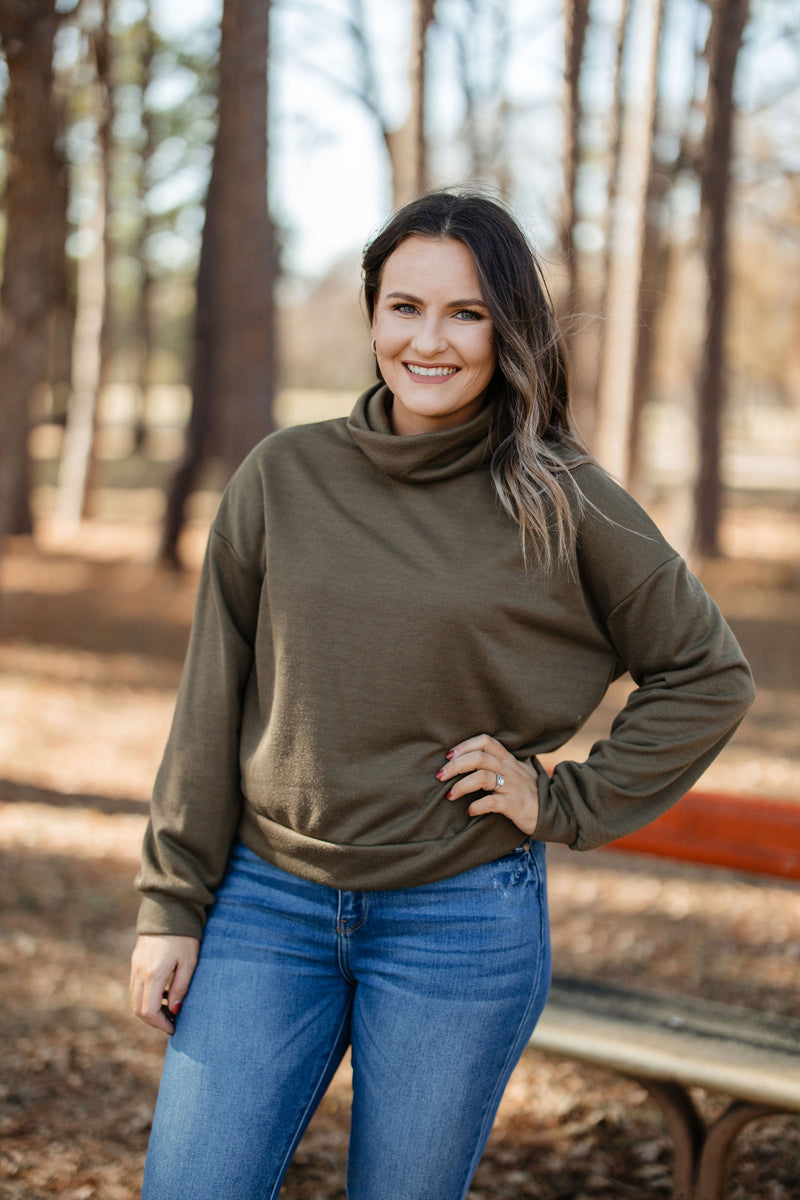 'Don't Miss Out' Sweater - Olive
