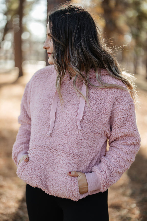 Sherpa Hooded Pullover - Mauve