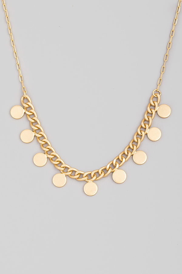 Drop Link Coin Necklace