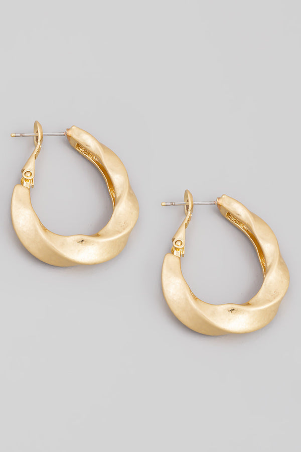 Twist Hoop Earrings - Gold