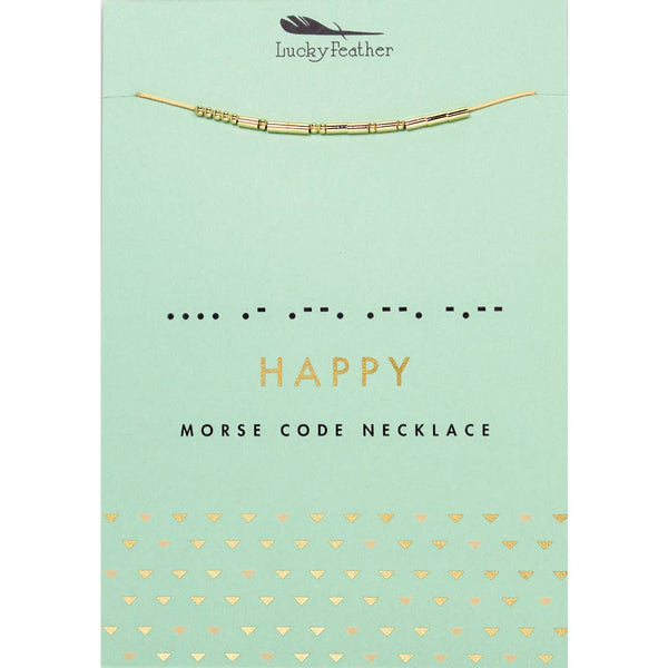 Morse Code Necklace - Happy