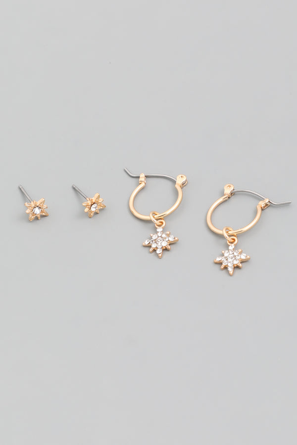 Rhinestone Star Earrings Set