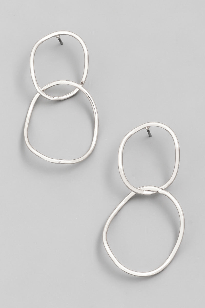 Warped Link Earrings - Silver