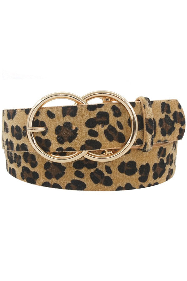 Double O Ring Belt - Beige Leopard