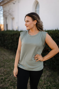 Sage green soft muscle tank.