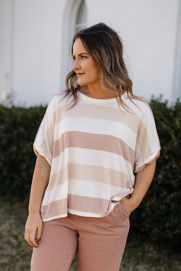 Blush and tan striped short sleeve top.