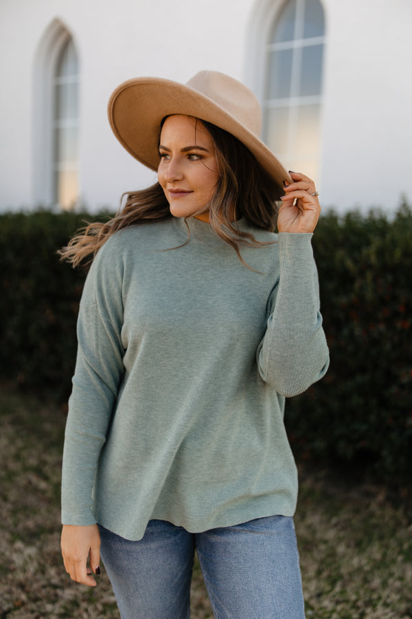 Mock neck pullover sweater top