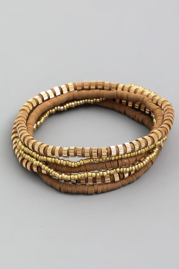 Disc Bracelet Set - Brown