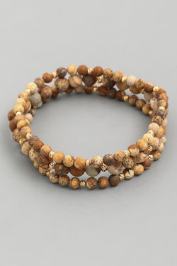 Beaded Stretch Bracelet - Jasper