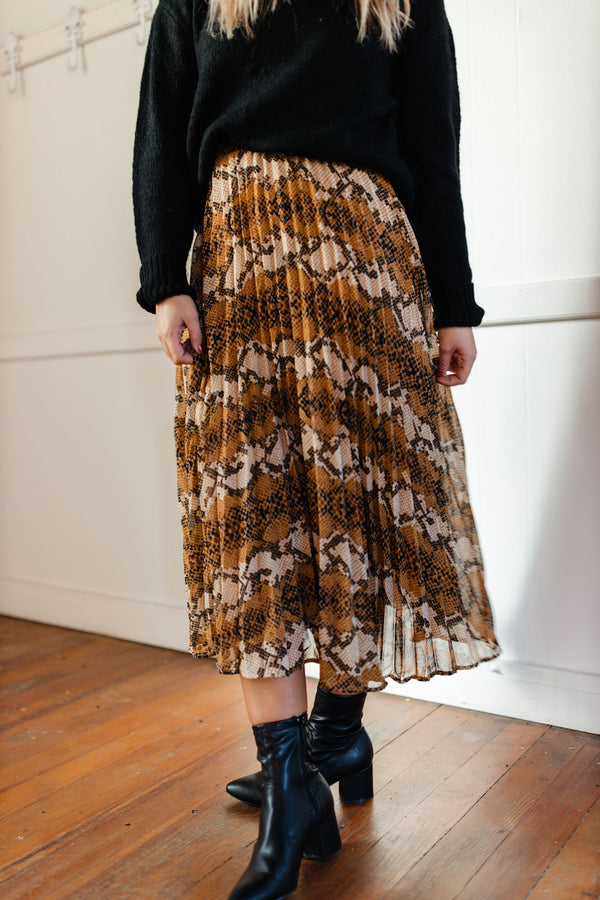 Snakeskin Pleated Midi Skirt