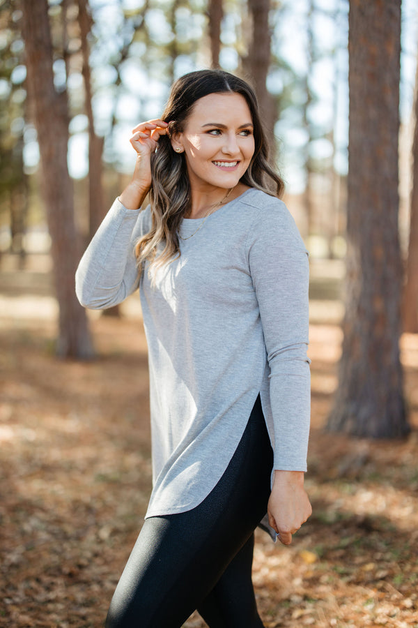 'Step On Up' Top - Heather Gray