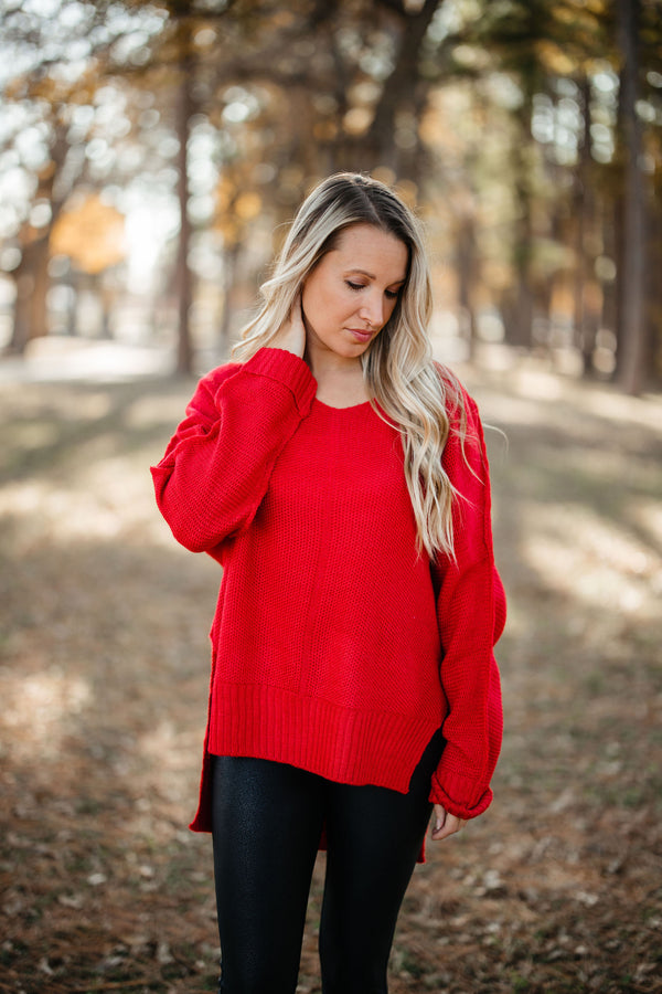'Say Anything' Sweater - Red