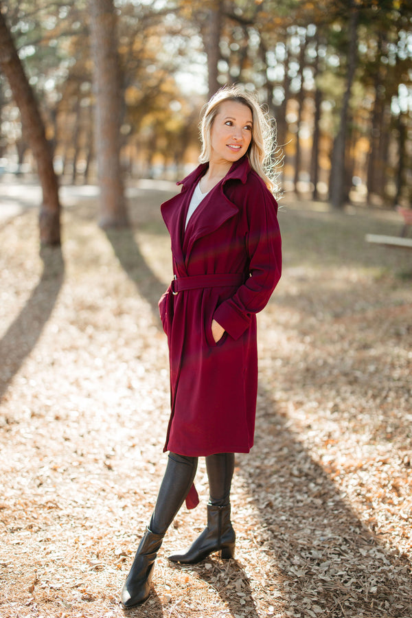 Lightweight Coat - Wine