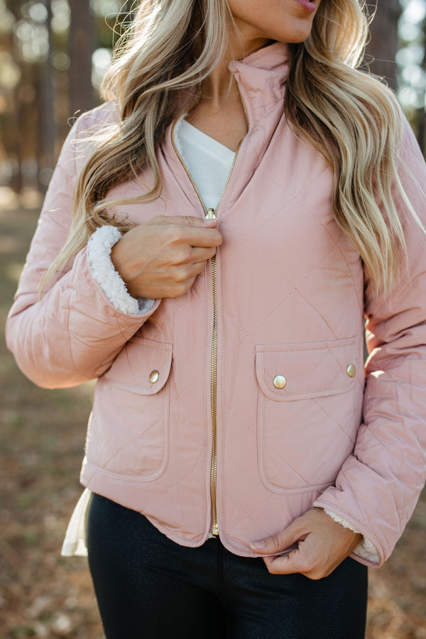 Quilted Reversible Jacket - Blush
