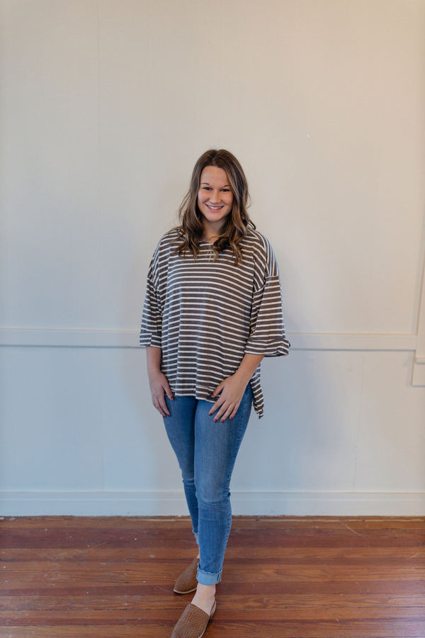 Striped 3/4 Charcoal Top