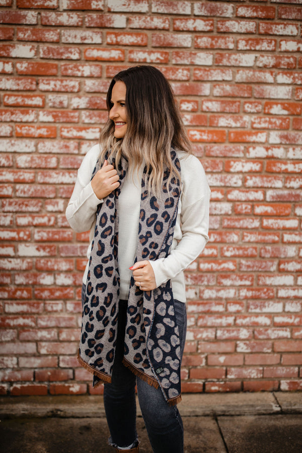 Leopard Reversible Scarf - Navy