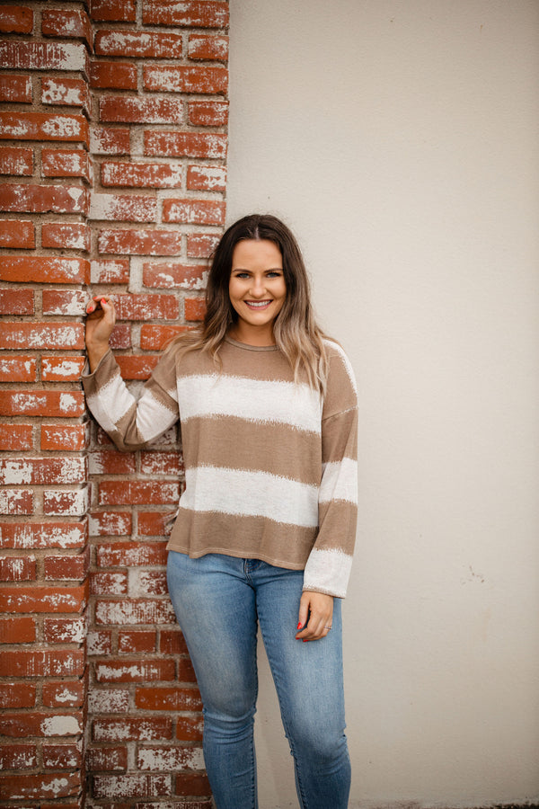 women's lightweight taupe and cream striped long sleeve sweater top