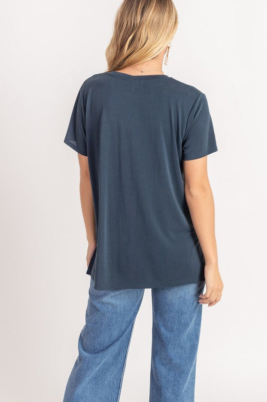 Lush V Neck Tee - Blueberry