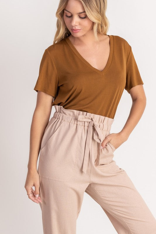 Lush V Neck Tee - Brown