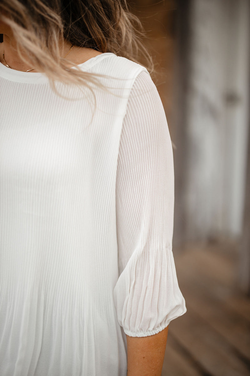 Off White Pleated Blouse