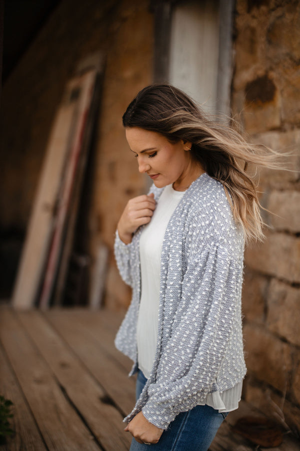 Gray Swiss Dot Cardigan
