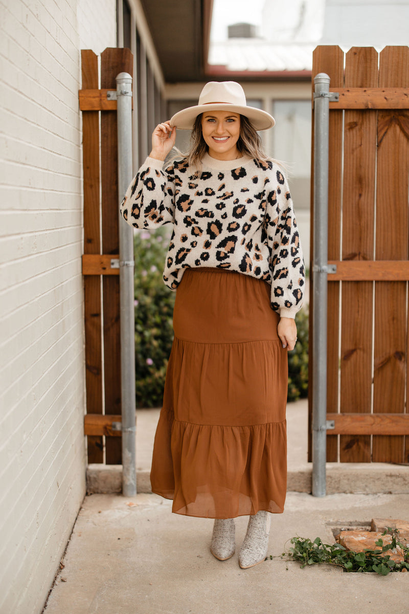 Rust Tiered Skirt